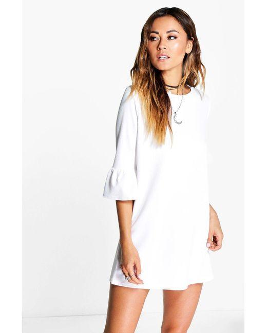 73c793aad3b7 Boohoo - White Ruffle Sleeve Shift Dress - Lyst ...