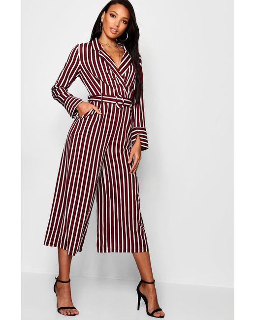 b291b2be1ec7 Boohoo - Red Pyjama Style Striped Culotte Jumpsuit - Lyst ...