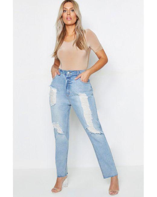 hivatalos áruház új akciók új olcsó Lyst - Boohoo Plus Scarlett Mom-jeans Mit Extremen Rissen in Blue
