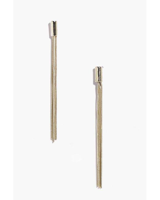 Boohoo | Metallic Lexi Modern Metal Tassel Earrings | Lyst