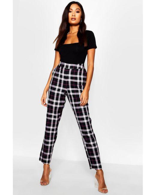 9d419b288a72 Boohoo - Black Woven Tartan Check Slim Fit Pants - Lyst ...
