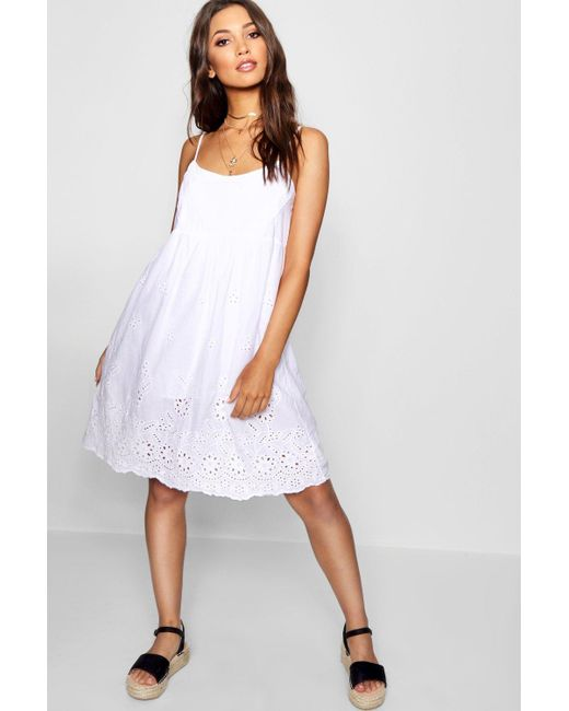 Boohoo - White Broderie Anglais Skater Dress - Lyst ... 664723189