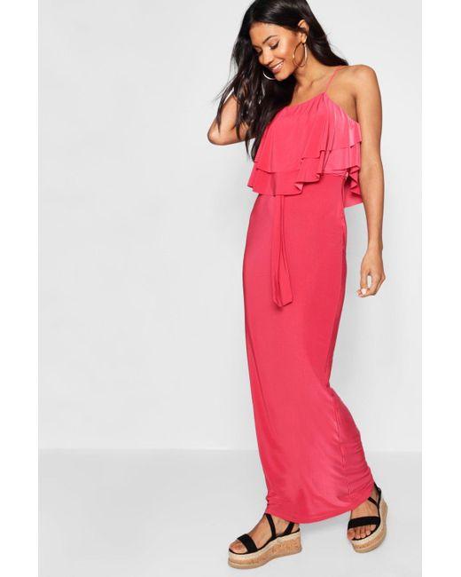 284ef781d1b5 Boohoo - Multicolor 90's Neck Double Ruffle Maxi Dress - Lyst ...