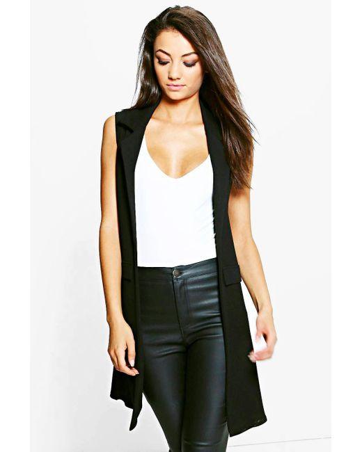 Boohoo - Black Tall Clarise Textured Sleeveless Duster Coat - Lyst