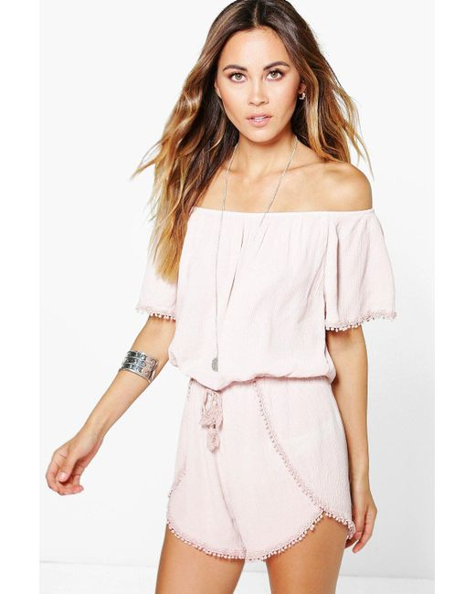 Boohoo - Pink Crochet Trim Off The Shoulder Playsuit - Lyst