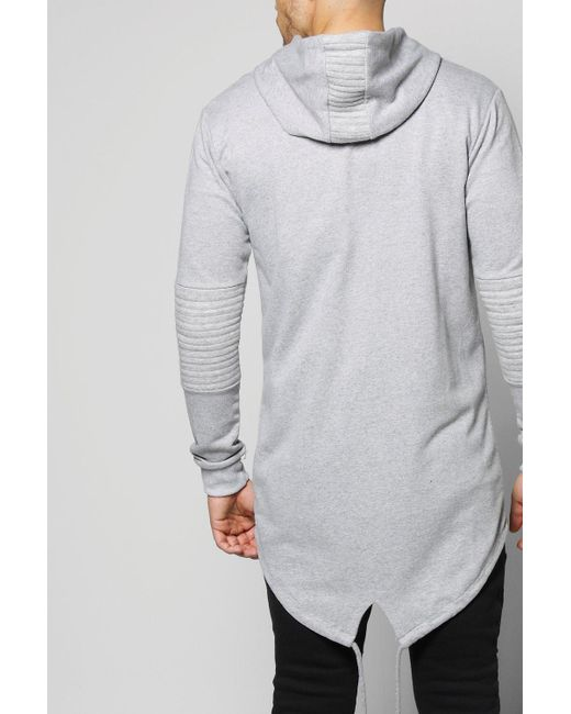 Boohoo | Gray Longline Biker Hoodie With Fishtail Hem for Men | Lyst