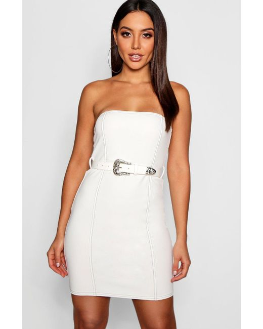 ed89e555e07e4 Boohoo - White Seam Detail Bandeau Belted Bodycon Dress - Lyst ...