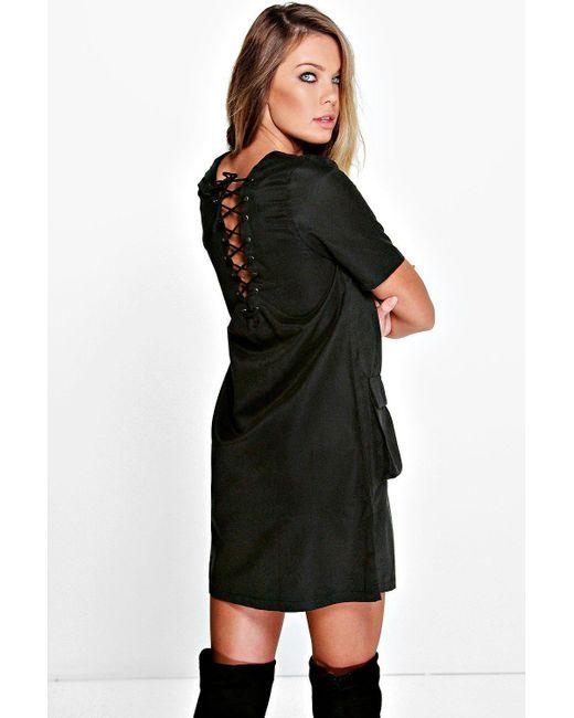 Boohoo | Black Adriana Lace Up Shift Dress | Lyst