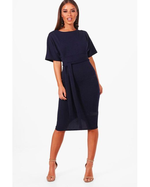 Boohoo - Blue Petite Tie Waist Formal Wiggle Midi Dress - Lyst