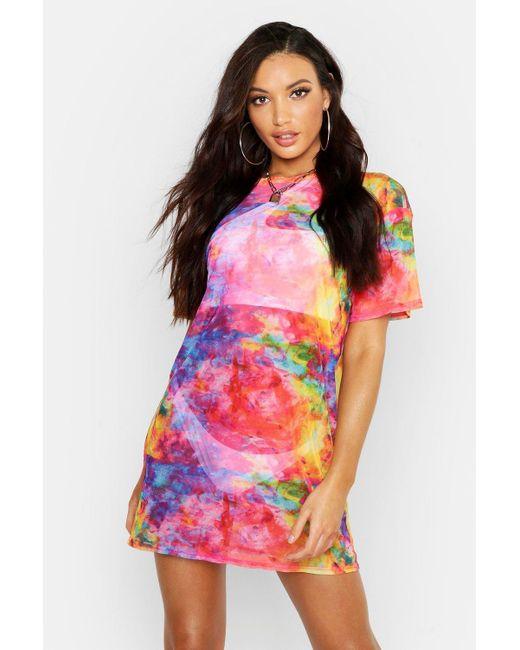 43a10ba95890 Boohoo - Pink Rainbow Tie Dye Mesh Beach Dress - Lyst ...