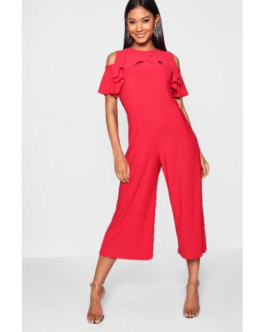 e21e1abff9 Boohoo - Red Crepe Ruffle Culotte Jumpsuit - Lyst ...