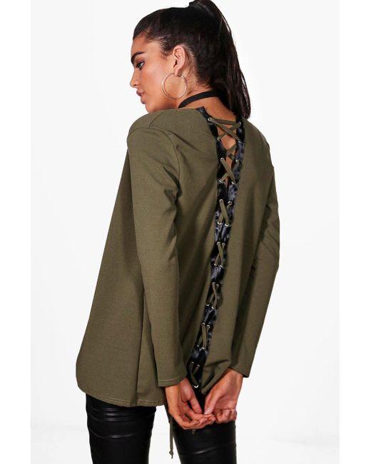 Boohoo   Green Julia Lace Up Back Blazer   Lyst