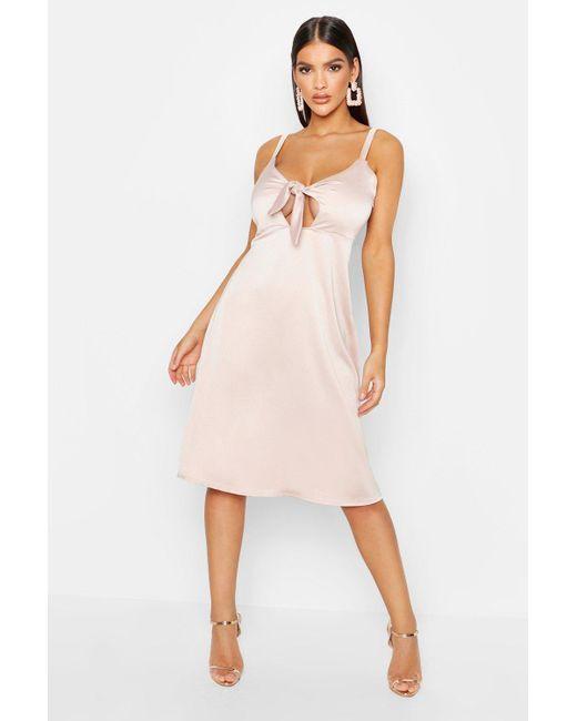 e38b410c8d198 Boohoo - Pink Satin Tie Front Cami Midi Dress - Lyst ...