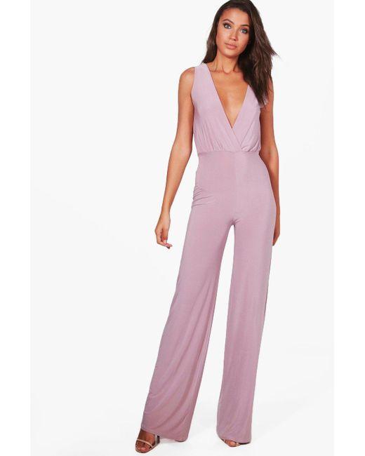 4a8c9d629ef Boohoo - Purple Tall Wrap Front Wide Leg Slinky Jumpsuit - Lyst ...