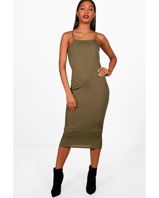 c381bf5f8626 Boohoo - Multicolor Square Neck Ribbed Midi Bodycon Dress - Lyst ...