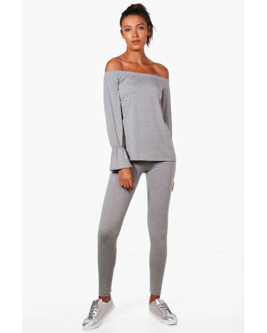 Boohoo | Metallic Tall Mia Off The Shoulder Top & Legging Lounge Set | Lyst