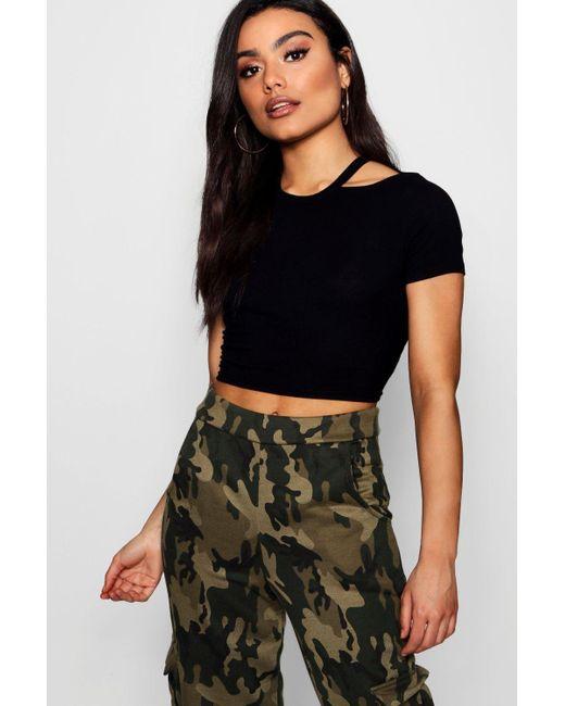 Boohoo - Black Lola Rib Cut Away Neck Crop T-shirt - Lyst