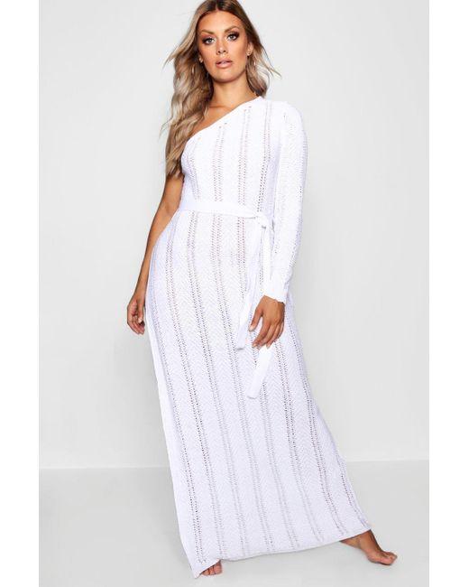 141cd3508d2a Boohoo - White Plus One Shoulder Crochet Beach Dress - Lyst ...