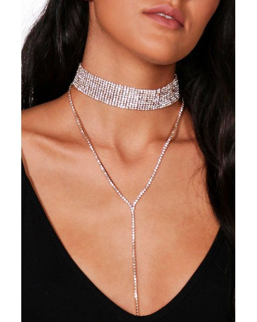 Boohoo - Metallic Diamante Plunge Choker - Lyst