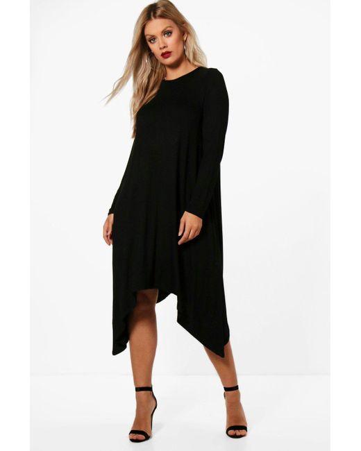 073f2d54c4ce Boohoo - Black Plus Long Sleeve Hanky Hem Swing Dress - Lyst ...