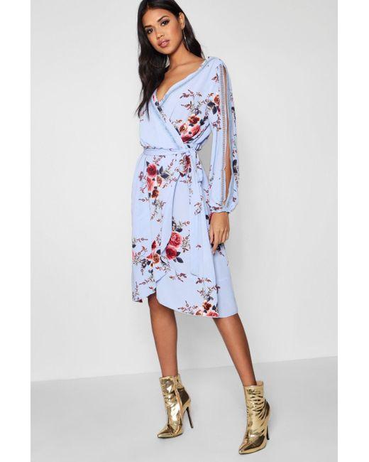 357154550b95d Boohoo - Blue Boutique Floral Split Sleeve Wrap Dress - Lyst ...