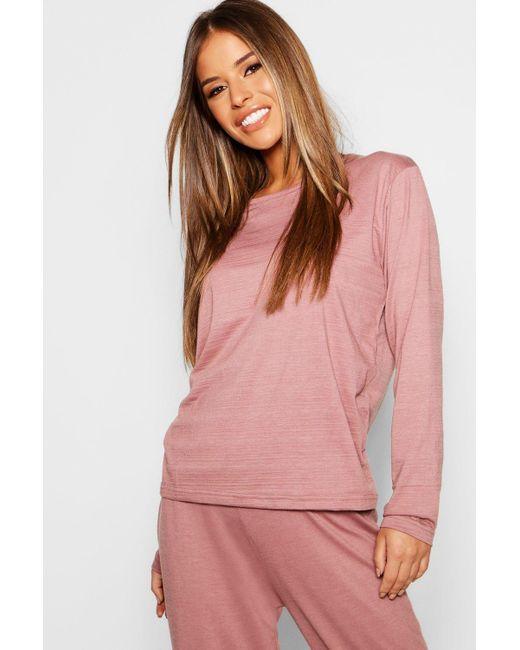 a88cceaf5af12 Boohoo - Multicolor Petite Basic Jersey Long Sleeve Pj Top - Lyst ...