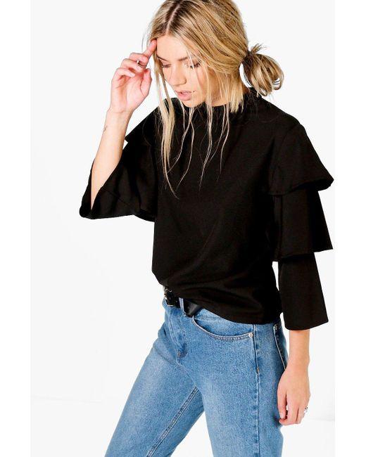 Boohoo - Black Tiered Sleeve High Neck Top - Lyst