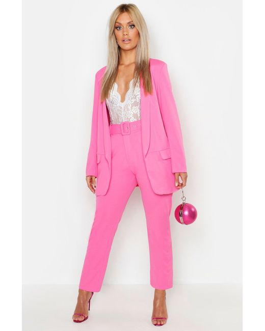 33bede6c211a Boohoo - Pink Plus Self Belt Tailored Trousers - Lyst ...
