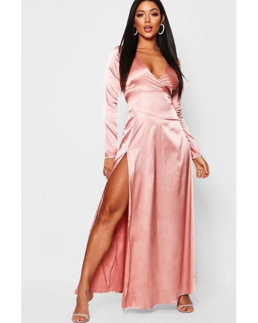 1500fa373fa15 Boohoo - Pink Satin Wrap Detail Long Sleeve Maxi Dress - Lyst ...