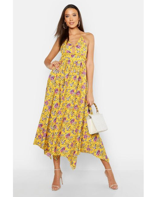 ddd923ff8d01 Boohoo - Yellow Tall Floral Strappy Halter Neck Maxi Dress - Lyst ...