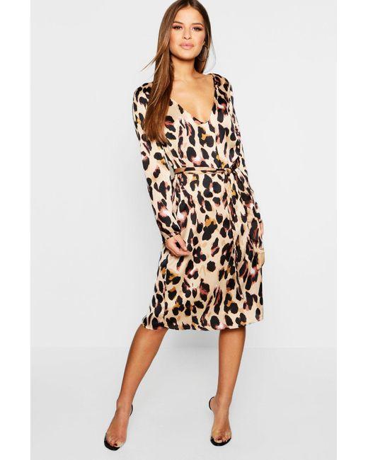 f212cafa1fa21 Boohoo - Multicolor Petite Satin Wrap Tie Leopard Print Dress - Lyst ...