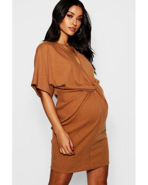 2f7fc15b48da1 Boohoo - Brown Maternity Rib Twist Kimono Sleeve Dress - Lyst ...