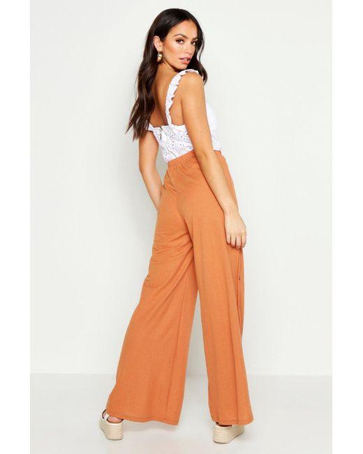 99438fbd27502 ... Boohoo - Black Button Side Linen Look Wide Leg Trousers - Lyst