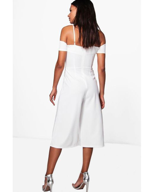 f4d081e7e8c ... Boohoo - White Off The Shoulder Culotte Jumpsuit - Lyst ...
