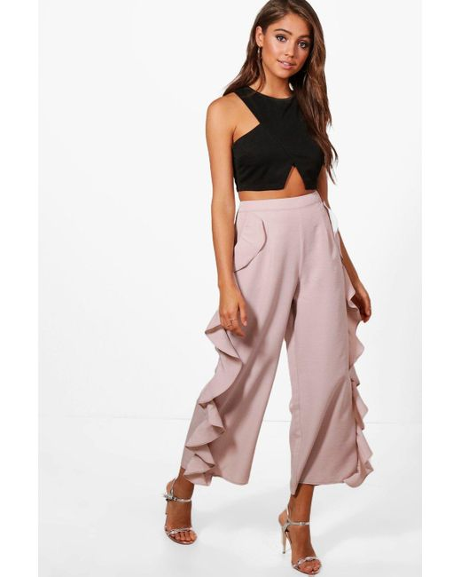 22edb2304d57 Boohoo - Purple Ruffle Side Woven Wide Leg Culottes - Lyst ...