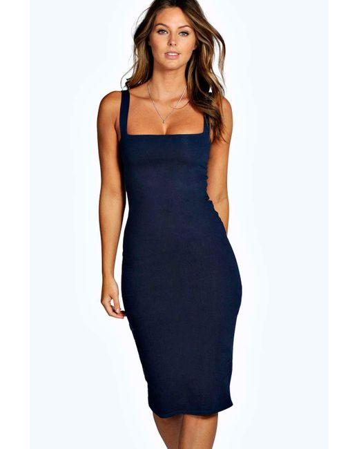 Boohoo   Blue Jen Square Neck Bodycon Midi Dress   Lyst