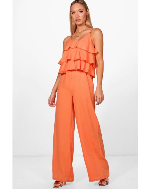 bb641072095 Boohoo - Orange Ruffle Strappy Wide Leg Jumpsuit - Lyst ...