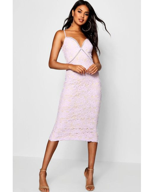 91045d505faa Boohoo - Purple Izzy Lace Panel Detail Ruffle Hem Midi Dress - Lyst ...