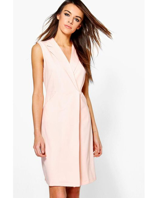 Boohoo | Pink Eleanor Sleeveless Collared Dress | Lyst