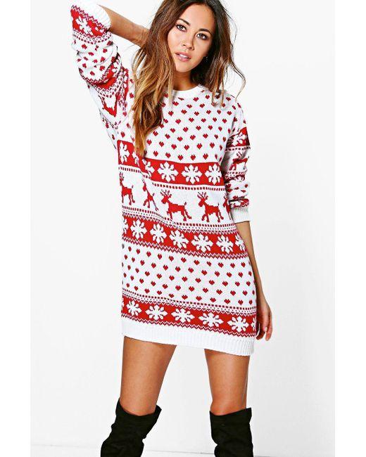 Boohoo - Red Reindeers & Snowflake Christmas Jumper Dress ... - Lyst - Boohoo Reindeers & Snowflake Christmas Jumper Dress In Red