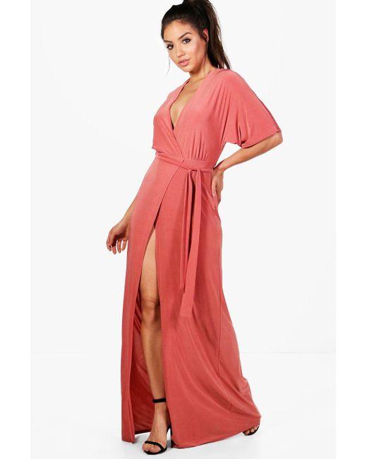 Boohoo - Pink Ida Kimono Sleeve Wrap Maxi Dress - Lyst