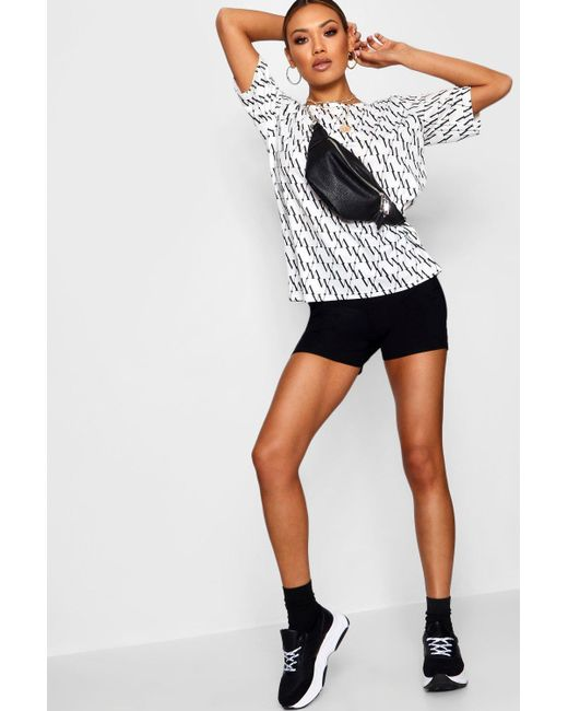 Boohoo - White Diagonal Repeat Print Tee - Lyst