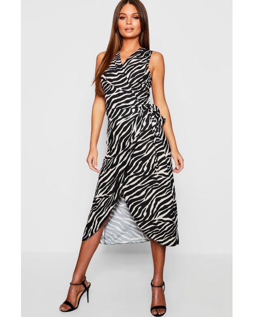 166ae1867d5a8 Boohoo - Natural Woven Tiger Print Wrap Dress - Lyst ...