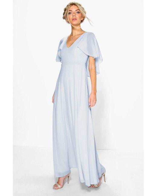 7a7ec2e65de5 Boohoo - Blue Chiffon Cape Detail Maxi Dress - Lyst ...