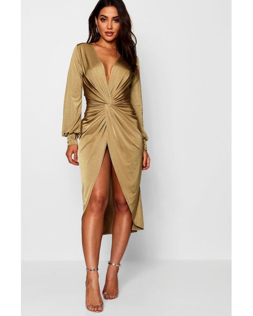 a96bc9a60940 Boohoo - Multicolor Twist Front Plunge Slinky Midi Dress - Lyst ...