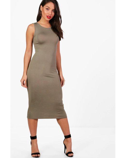 5e46b50533cd Lyst - Boohoo Sleeveless Midi Dress in Red - Save 50%