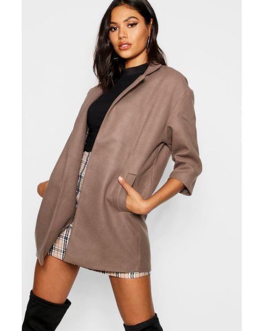 9819332dbc272 Boohoo - Multicolor Notch Neck Wool Look Coat - Lyst ...