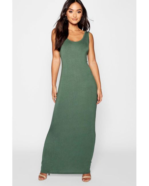 3cbbe804d9b6c Boohoo - Green Petite Sandy Scoop Neck Maxi Dress - Lyst ...