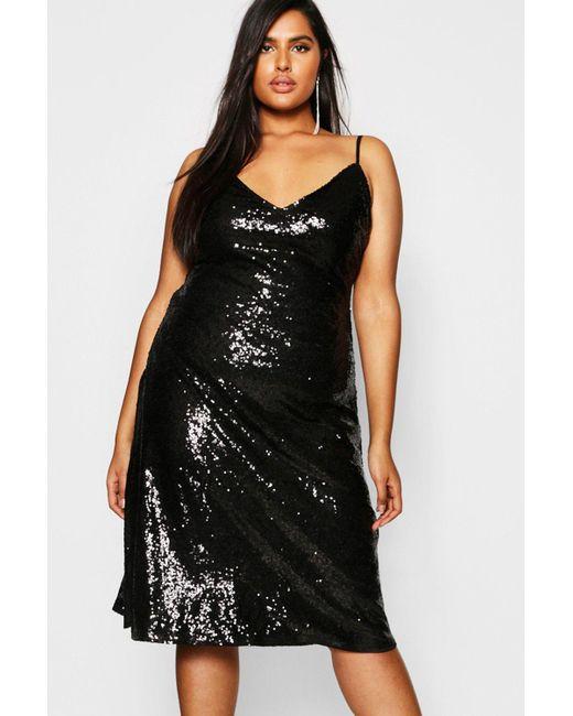 d88346bc9fad Boohoo - Black Plus Sequin Plunge Midi Slip Dress - Lyst ...