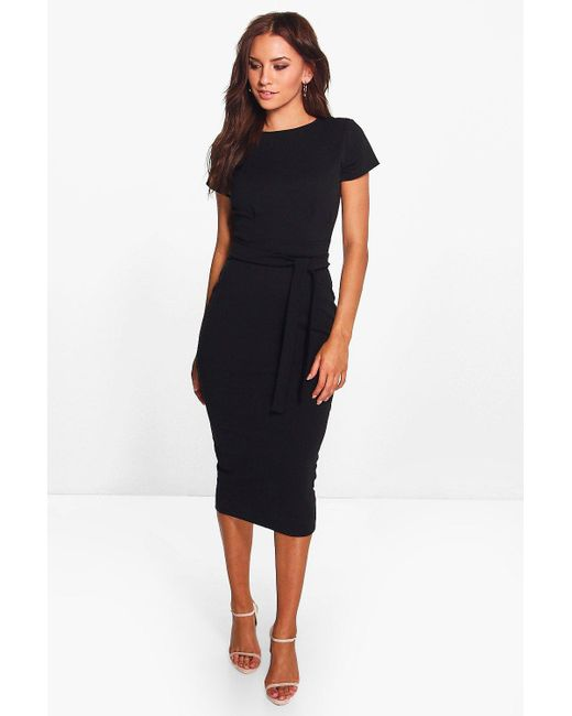 d10e6e090644 Boohoo - Black Pleat Front Belted Tailored Midi Dress - Lyst ...